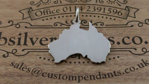 Australia country map silhouette pendant sterling silver handmade by saw piercing